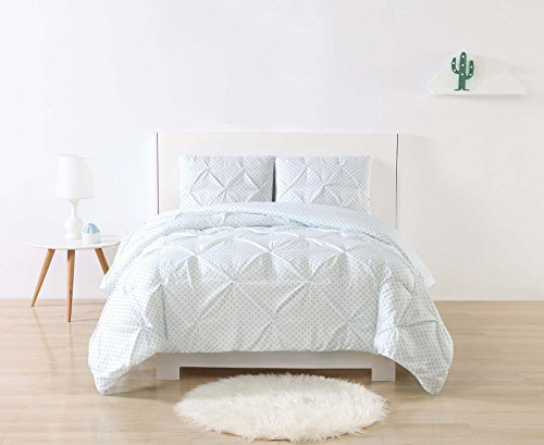 My World Printed Dot Pinch Pleat Kids Comforter Set, Twin XL, Aqua