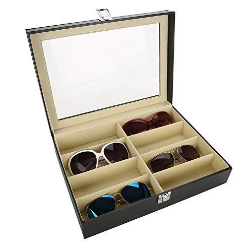 Brillenbox, 8 Grids zonnebril glazen opslag vitrine glazen opbergdoos PU leder zonnebril presentatie showcase