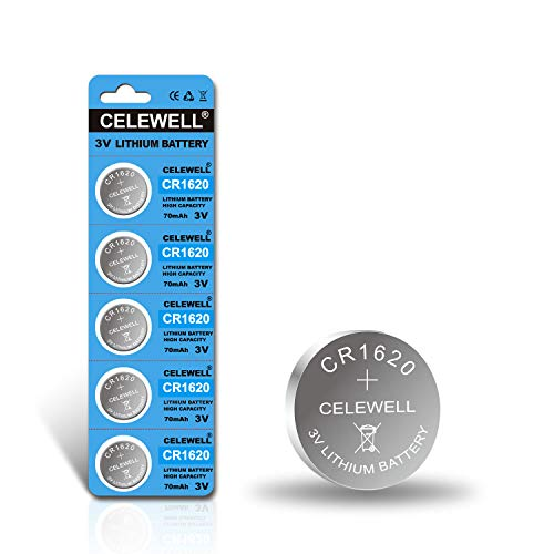 5-Year Warranty CELEWELL CR1620 CR 1620 Battery for Key Fob Tracker 70mAh 3V Lithium Coin Cell 5 Pack