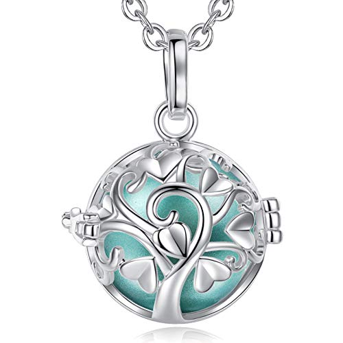 EUDORA Harmony Ball Tree of Life Necklace, with Music Chime Wishing Ball Locket Pendant Necklace for Girls Ladies Pregnant Women Nice Jewelry Gift, 30'+45 inch Chain