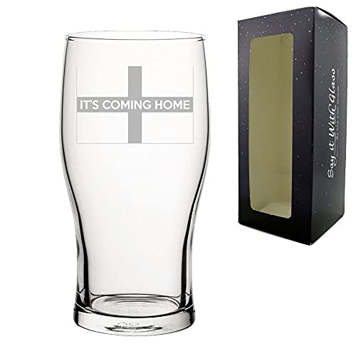 Engraved Football Pint Glass, It's Coming Home Design with Gift Box, Euro...