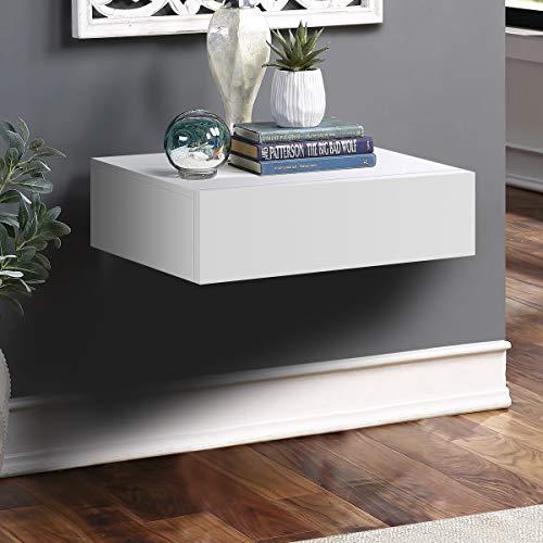 Mesita suspendida, estante de pared con cajón, mesilla de noche, estantería portaobjetos de pared, color blanco, 30 x 46 x 15 cm