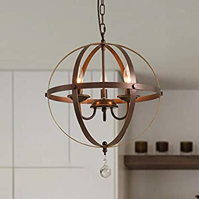 PUSU Industrial Pendant Light Fixture,3-Light Flush Mount Crystal Chandeliers, E12 Lamp Holder 16.53 inch Diameter Ball Brown Hanging Lighting,for Living Room Bedroom Kitchen and Dining Room.