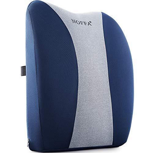 NOFFA Ergonomisches Taillenkissen, Memory Foam-Rückenstütze Lendenkissen mit verstellbarem Gurt für Bürostuhl / Autositz / Rollstuhl