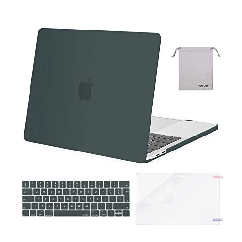 MOSISO MacBook Pro 13 inch Case 2019 2018 2017 2016 Release A2159 A1989 A1706 A1708, Plastic Hard Shell &Keyboard Cover &Screen Protector &Storage Bag Compatible with MacBook Pro 13, Midnight Green
