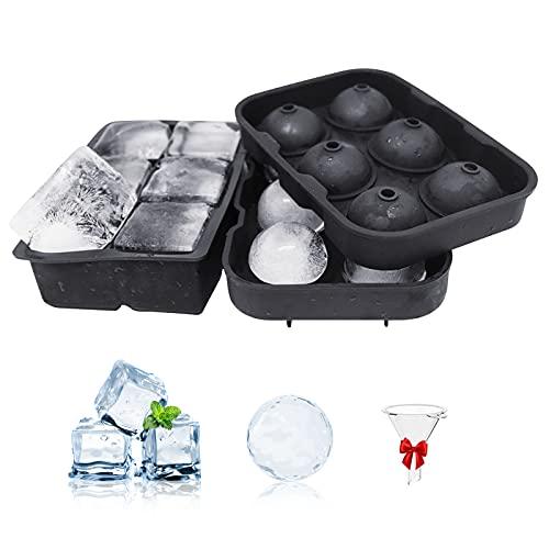 Große Eiswürfelform aus Silikon mit Deckel, Hockey-Tablett auf Eis mit 6 Zellen, quadratisches Eistablett mit 6 Zellen, verwendet in Whisky und Limoncello – 2 Stück