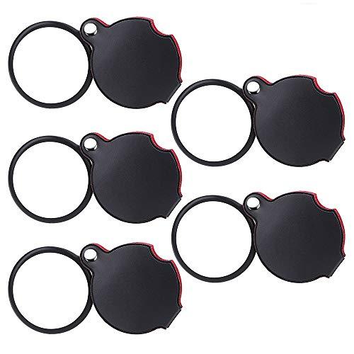 Dreamtop 5 Stück 10 x Mini Lupe Taschenlupe 50 mm faltbar Lupe mit drehbar Schutztasche Holster für Lesen Karten, Etiketten, Basteln
