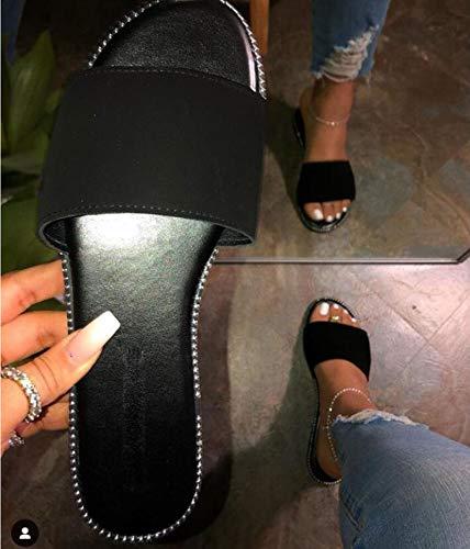 Hwcpadkj Damen Sandalen Damen Runde Peep-Toe-Schuhe mit niedrigem Absatz und Strandsandalen und Hausschuhe aus Wildleder mit Leopardenmuster und offenen Zehen,Schwarz,40