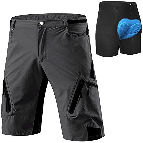 Cycorld MTB Hose Herren Radhose, Schnelltrocknend Mountainbike Hose Fahrradhose mit 4D Sitzpolster, Elastische Outdoor Sport Herren Radlerhose MTB Bike Shorts (Neu-Grau mit Unterwäsche, L)
