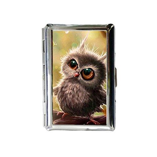 Baby Uil Custom Gegraveerde metalen sigarettenhouder Case sigarettenetui of portemonnee.