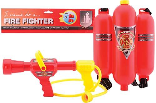 JohnToy 26949 Feuerwehr Feuerlöscherrucksack, Mehrfarbig