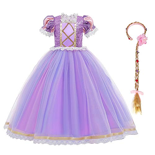 IDOPIP Disfraz de Princesa Rapunzel Niña Sofía Vestido Fiesta Carnaval Cosplay Halloween Costume para Chicas con Peluca Morado 08 4-5 Años