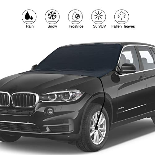 Car Windshield Cover for Ice with Mirror Cover, Snow and Frost with 4 Layers,Wind-Proof Keeps Vehicle Cool Front Window Sun Shade Fits Most Vehicle Large Size(76'x 48')