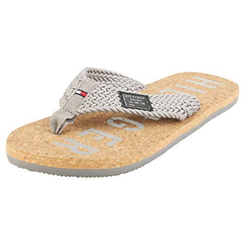 Tommy Hilfiger Casual Cork Beach Sandal, Sandalias con Punta Abierta para Hombre, Gris (Antique Silver PRT), 43 EU