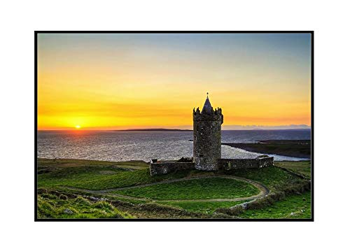Doonagore Castle at Sunset in Ireland 9022041 (24x16 Framed Gallery Wrapped Stretched Canvas)
