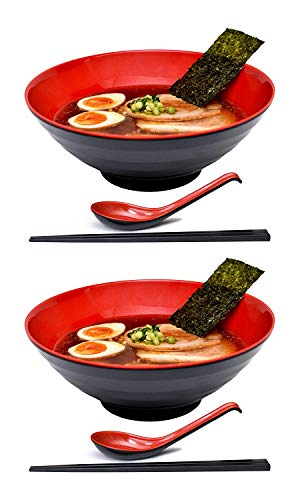 2 Sets 51 Ounce Large Japanese Ramen Noodle Soup Bowl Melamine Hard Plastic Dishware Ramen Bowl Set with Matching Spoon and Chopsticks for Udon Soba Pho Asian Noodles (2, Red, 8.6 inches)