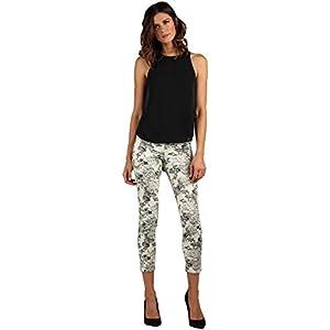Women's Stretch Twill Floral Print Capri Crop Premium Jeans