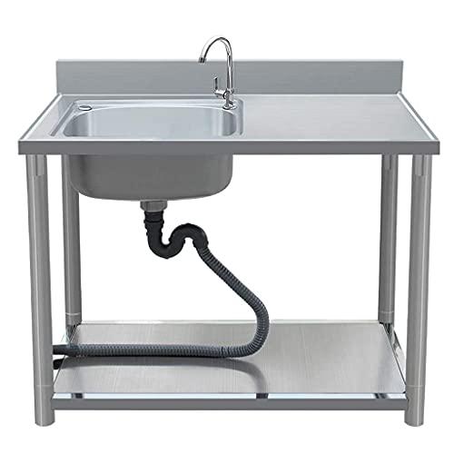 DGHJK Fregadero Comercial de Catering, Fregadero de Acero Inoxidable 304 móvil Simple Moderno, con Soporte de Cocina al Aire Libre, para Cocina de Camping, lavadero