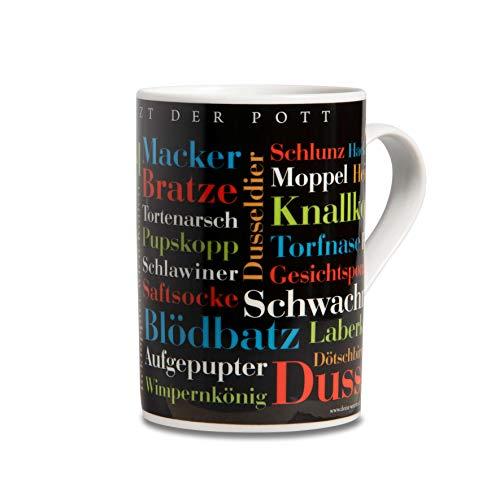 Tasse Ruhrpott Schimpfwörter, Mundart-Tasse mit Schimpfworte aus dem Ruhrgebiet als Souvenir oder Geschenkidee, mehrfarbig