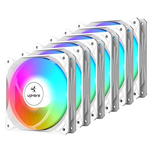 upHere Ventilador de Caja 120mm 6 Pines silenciosa Control remoto RGB LED de Color,Seis Paquetes NT1206-6