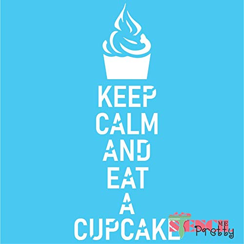 Keep Calm and Eat A Cupcake Stencil - DIY British Kitchen Sign-XS (5' x 11')| Brilliant Blue Color Material