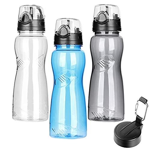 WD&CD Trinkflasche 1000ML, 1L Sport Wasserflasche [BPA Frei Tritan] mit 2 Flaschenverschluss für Camping Freien, Outdoor, Yoga, Gym, Die Fahrrad, Schule ---Blau