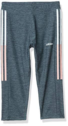 adidas Girls' Big Active Sports Capri Legging Athletic Tight, Clashing Stripe Medium Blue, X-Large