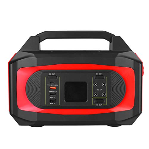 ZYYNET Solar Generator 120Ah 500W Portable Backup Power Station Storage Mobile Power Supply 100-240V Backup Battery Pack Power Supply for CPAP Outdoor Advanture Load Trip Camping Emergency,Red