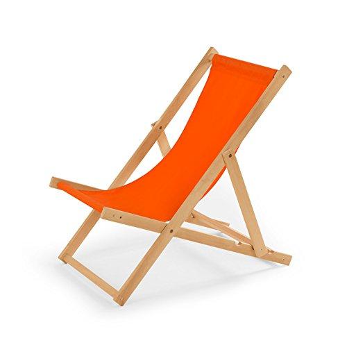 IMPWOOD Gartenliege aus Holz Liegestuhl Relaxliege Strandstuhl (Orange)