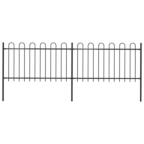 BIGTO Garden Fence with hoop Top Powder-coated steel, 340 x 150 cm Black,Fence panel height: 100 cm,Post dimensions: 3,4 x 150 cm,sturdy and durable