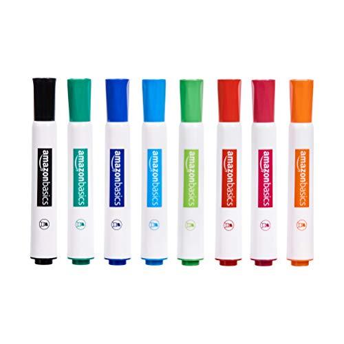 Amazon Basics - Rotuladores para pizarra blanca (poco olor, punta biselada, pack de 8, colores surtidos)