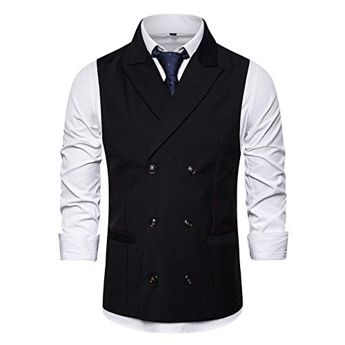 NDY Shirt Männer Solid Color zweireihiger Anzug Weste V-Ausschnitt Entwurf-dünner beiläufiger Bequeme Art und Weise kreativer Trend (Color : Black, Size : XL)