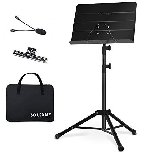 SOUIDMY. Atril plegable metálico para partituras musicales con bolsa para transportarlo, carpeta de partituras y lámpara, altura ajustable desde 80 cm a 145 cm (31,5 a 57 pulgadas). Color negro mate.