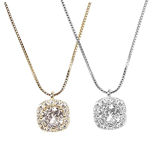 GPMYYBD Collana con Ciondolo di Diamanti da 2 Pezzi, Collana con Ciondolo di Gioielli in Argento con Diamante Quadrato, Catena di Clavicola, Regalo per Donna E Ragazza