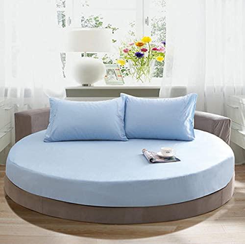 DSman Protector de colchón Acolchado - Microfibra - Funda para colchon estira hasta Funda de Cama Redonda de algodón Color Liso-Azul Cielo_2m