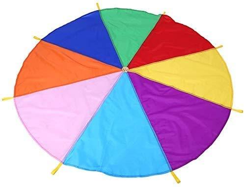 Libertry Play Paracadute con maniglie Formazione per lo sviluppo del gioco di squadra per i bambini Stuoie per coperta da picnic all'aperto con paracadute arcobaleno