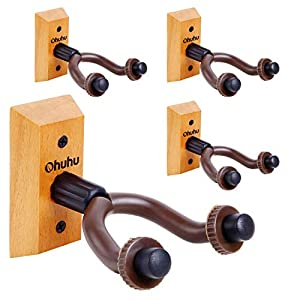 Guitar Wall Mount Hanger 4-Pack, Ohuhu Guitar Hanger Wall Hook Holder Stand for Bass Electric Acoustic Guitar Ukulele