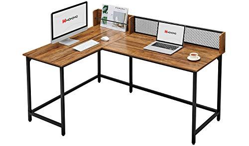 WOHOMO Corner Desk Computer Desk 65 Large Desktop L Shaped Desk for Home Office Study Writing Workstation Modern Industrial Style Rustic Walnut
