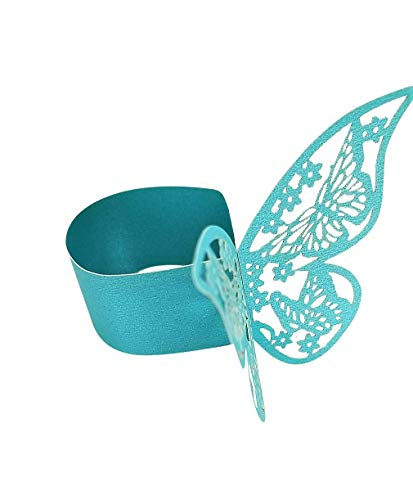 The Crafty Owl Gold, Silver, Blue,Purple, Aqua or Wedding White Laser Cut Paper Butterfly Napkin Rings Wedding/Engagement/Birthday Party Table Decoration - 24 Pieces (Pearly Aqua)