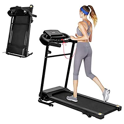 Folding Treadmill Electric Motorized Running Machine for Home Office Use for Exercise with LCD Monitor 3 Levels Manual Incline 12 Preset Program Max Speed 7.5MPH Fitness Gym Machine