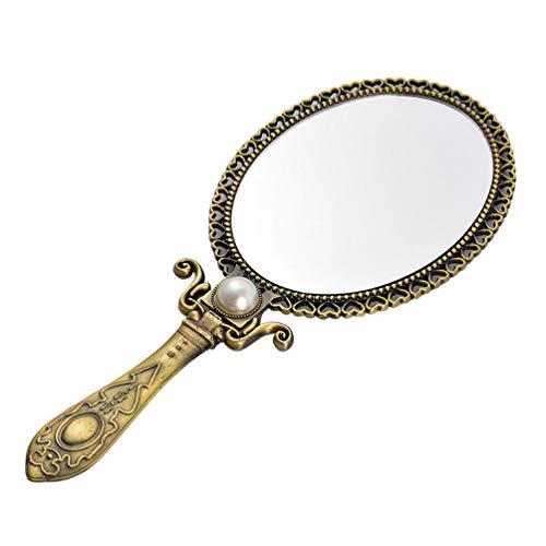 FRCOLOR Espejo de Latón Vintage Espejo Plegable de Doble Cara Espejo de Maquillaje de Mano Espejo Cosmético de Metal para Mujeres Niñas