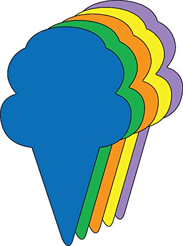 """3"""" Ice Cream Cone Assorted Color Creative Cut-Outs, 31 Cut-Outs in a Pack for Spring, Summer, Learning Games, Ice Cream Socials, Classroom Kids' School Craft Projects"""