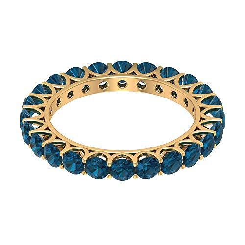 Rosec Jewels 18k Yellow-oro. Runde azul Diamante.