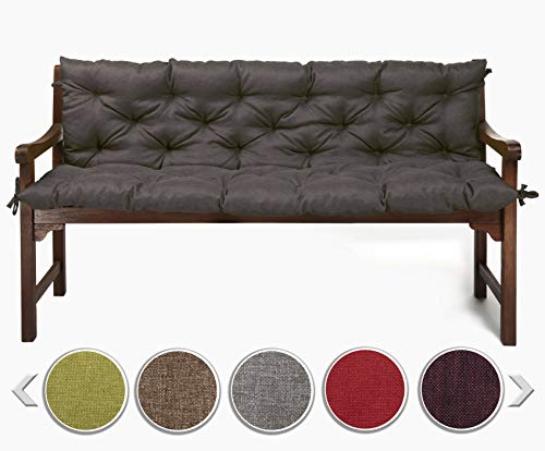 sunnypillow Bankauflage Stuhlkissen Bankkissen 190 x 50 x 50 cm Sitzkissen und Rückenkissen für Hollywoodschaukel Polsterauflage Auflage für Gartenbank viele Farben und Größen zur Auswahl Anthrazit