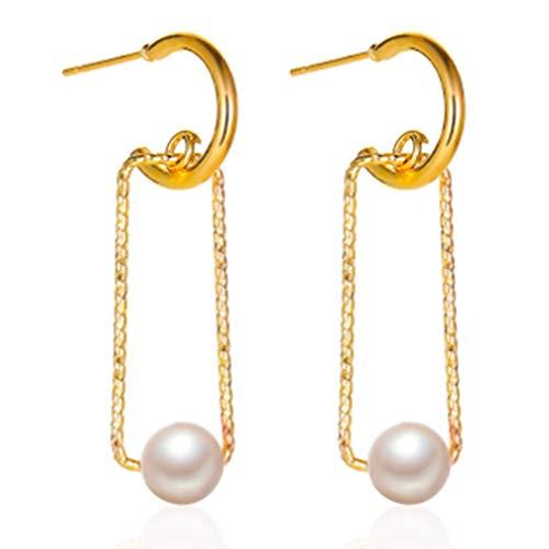 GGBEST Nuevos Pendientes Colgantes GeoméTricos Perlas de Circonita Elegantes y Bonitos de Corea para Mujeres y NiiAs, Pendientes Rectangulares Huecos, Regalo