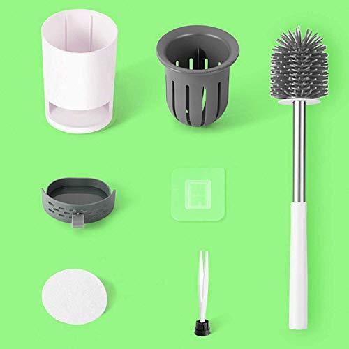 Toilettenbürste silikon,wc Bürste mit Schnell Trocknendem Halter, Wandmontage & Stehen klobürste für Badezimmer(Austauschbarer Bürstenkopf)