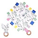 Baby Security Blanket with Tags Soft Ribbon Tag Blanket Comfort Lovey Taggy Blanket Cute Newborn Appease Towel with Bunny Ear Ring