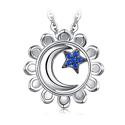 Kkoqmw Luna Estrella Girasol Colgante de Plata esterlina 925 Nacklace Creado espinela Azul Sol Sol Colgante Mujeres sin Cadena