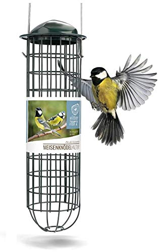 wildtier herz | Meisenknödelhalter - Futtersäule für Vögel zum Aufhängen mit Edelstahlgitter, Futtersäule für Meisenknödel – ökologische Vogelfütterung ohne Netz