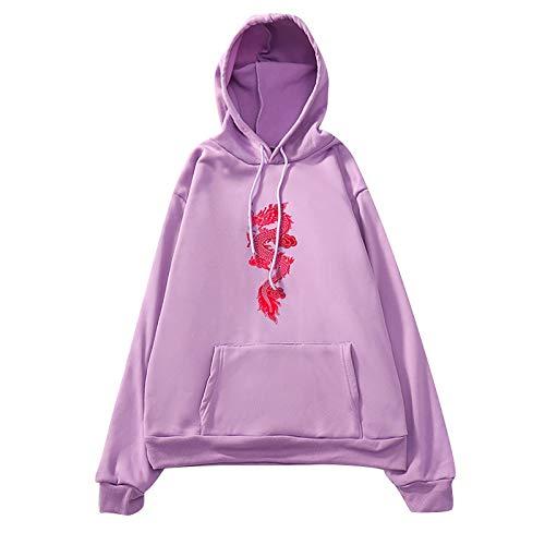 Shuanga 2021 Women's Hoodie Butterfly Print Y2K Pullover Butterfly Harajuku Hip Hop 90S Retro with Round Neck Vintage Sweatshirt Oversized Pullover Teenager Girls Sportswear Sweatshirt - - M
